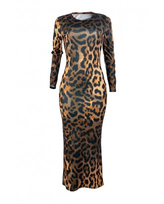 Lovely Casual Leopard Printed Black Ankle Length Dress