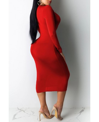 Lovely Casual Deep V Neck Red Mid Calf Dress