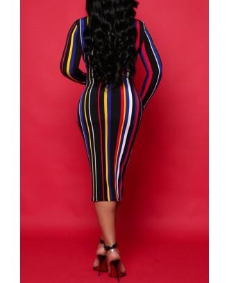 Lovely Blending Sexy Striped Regular sleeve Long Sleeve V Neck Mid Calf Sheath Yes(Elastic) Dresses