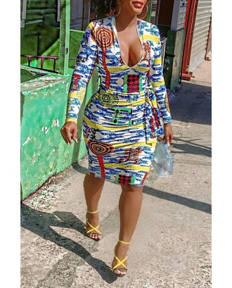 Lovely Casual Printed Skinny Multicolor Knee Length Dress
