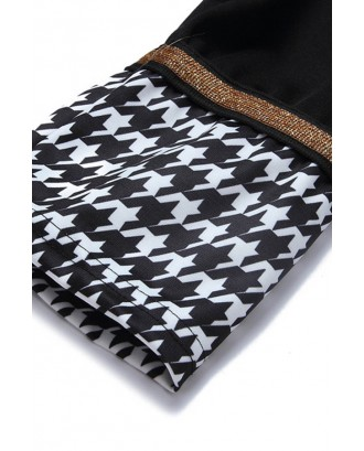 Lovely Casual Grid Printed Black Knee Length Dress