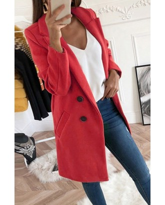 Lovely Casual Basic Buttons Design Red Coat