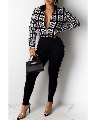 Lovely Casual Letter Black Two-piece Pants Set