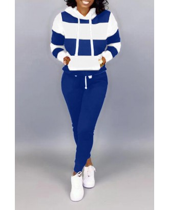 Lovely Casual Hooded Collar Patchwork Blue Two-piece Pants Set