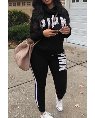 Lovely Casual Heaps Collar Letters Printed Striped Black Two-Piece Pants Set