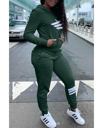 Lovely Casual Hooded Collar Printed Blackish Green Two-piece Pants Set
