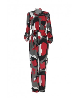 Lovely Casual Camouflage Printed Red One-piece Jumpsuit