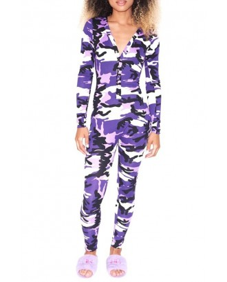 Lovely Casual Camouflage Printed Purple One-piece Jumpsuit