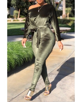 Lovely Casual Dew Shoulder Green One-piece Jumpsuit