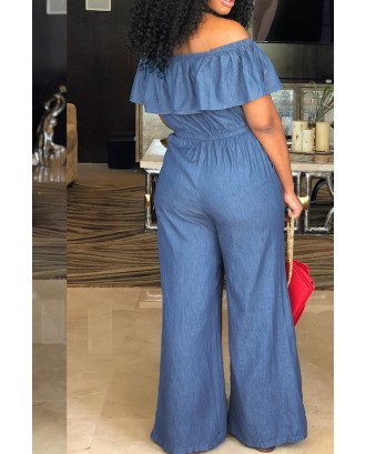 Lovely Casual Bateau Neck Flounce Blue Denim One-piece Jumpsuits