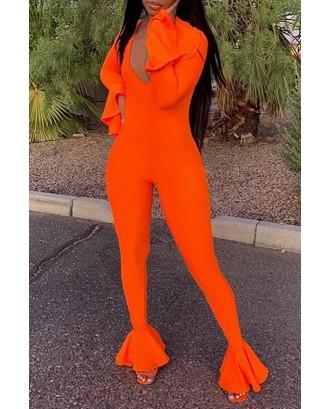 Lovely Casual Flounce Design Orange One-piece Jumpsuit