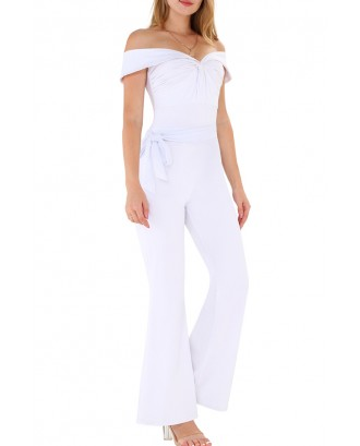 Lovely Casual Off The Shoulder Drape Design White One-piece Jumpsuit