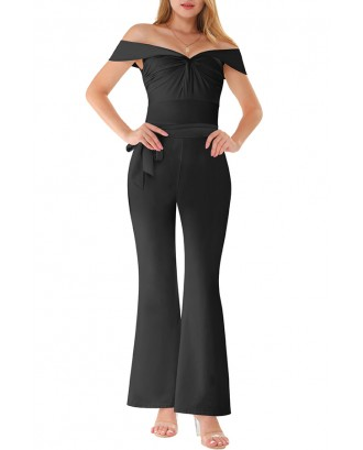 Lovely Casual Off The Shoulder Drape Design Black One-piece Jumpsuit