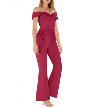 Lovely Casual Off The Shoulder Drape Design Wine Red One-piece Jumpsuit