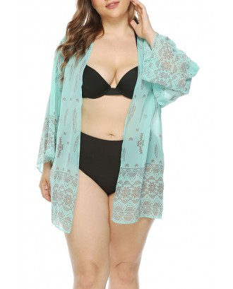 Lovely Bohemian Printed Blue Plus Size Cover-up