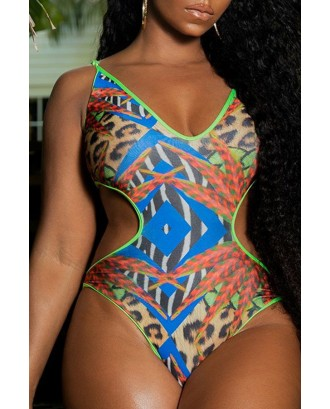 Lovely Basic Hollow-out Multicolor Plus Size One-piece Swimwear