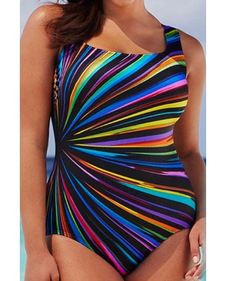 Lovely Chic Print Black Plus Size One-piece Swimwear