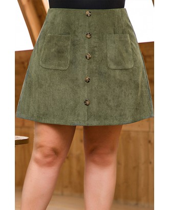 Lovely Casual Buttons Design Army Green Plus Size Skirt