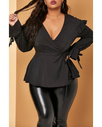 Lovely Casual Embroidery Black Plus Size Blouse