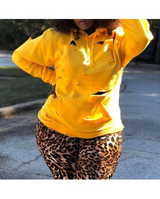 Lovely Casual Hooded Collar Broken Holes Yellow Hoodie