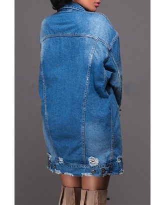 Lovely Casual Broken Holes Deep Blue Denim Coat
