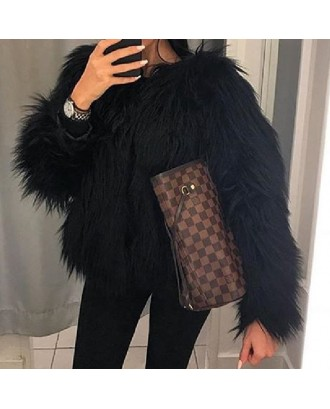 Lovely  Casual Long Sleeves Black Faux Fur Coat