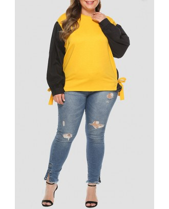 Lovely Casual Patchwork Navy Blue Plus Size Hoodie