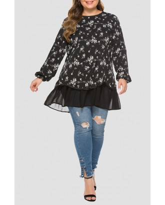 Lovely Casual Printed Black Plus Size Blouse
