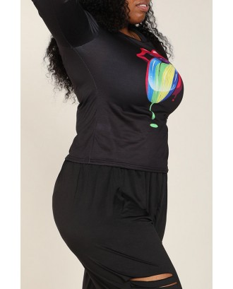 Lovely Casual Lip Printed Black Plus Size T-shirt