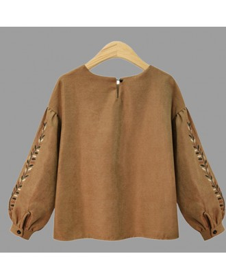 Lovely Casual Embroidered Design Light Tan Plus Size Hoodie