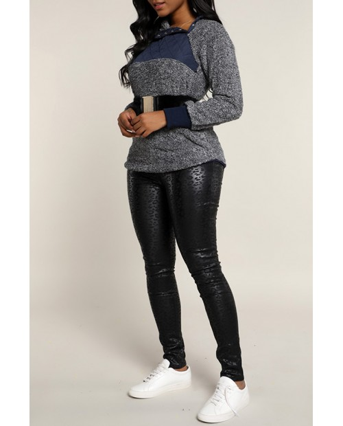 Lovely Casual Patchwork Black Sweatshirt Hoodie(Without Belt)