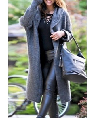 Lovely Casual Buttons Grey Coat