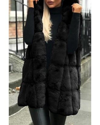 Lovely Casual Basic Winter Black Vests