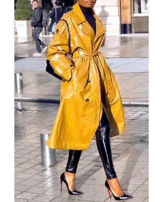 Lovely Casual Buttons Design Yellow Coat