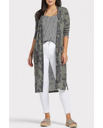 Lovely Casual Camouflage Printed Green Coat