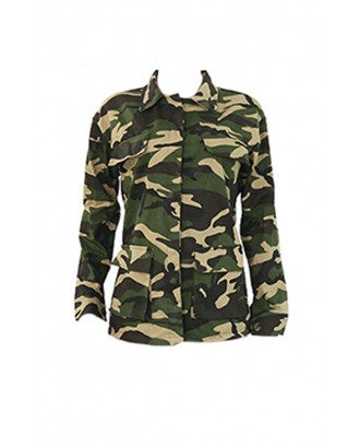Lovely Casual Turndown Collar Printed Green Jacket