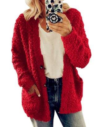 Lovely Casual Basic Red Teddy Coat