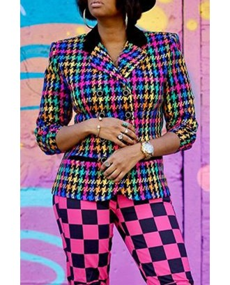 Lovely Casual Buttons Design Multicolor Coat