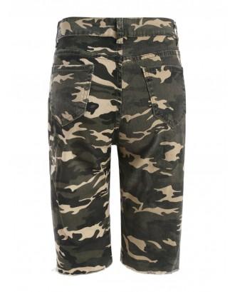 Camo Distressed Bermuda Shorts - Acu Camouflage S