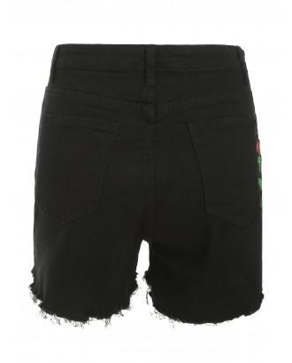Frayed Hem Floral Embroidered Jean Shorts - Black M