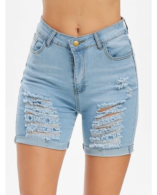 Distressed Rolled Hem Denim Bermuda Shorts - Light Sky Blue L