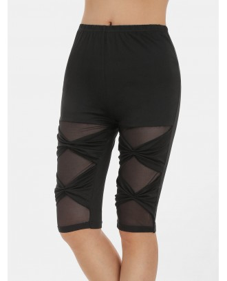 Mesh Panel High Waisted Bowknot Shorts - Black S