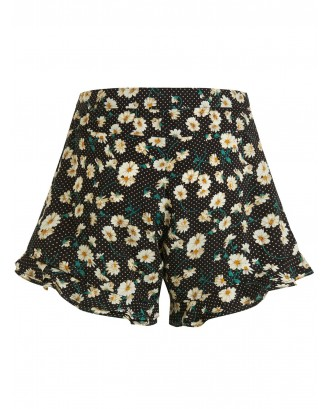 Polka Dot Daisy Ruffle Hem Shorts - Black Xl