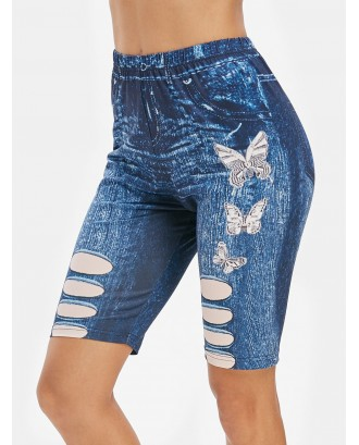 Butterfly 3D Jean Print High Waisted Cycling Shorts - Midnight Blue S