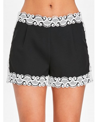Lace Invisible Zipper Shorts - Black S