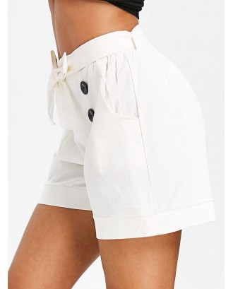 Button Embellished Belted Pocket Shorts - White M