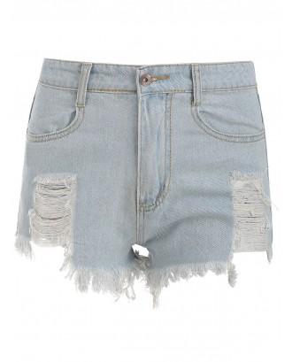 Destroyed Faded Wash Denim Shorts - Jeans Blue Xl