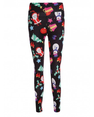 Christmas Santa Print Pencil Pants -  S