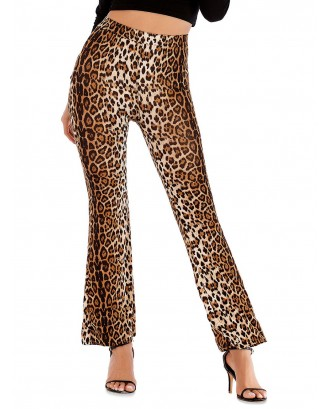 Animal Print High Rise Boot Cut Pants - Multi-a S