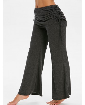 Cinched Fold Over Space Dye Print Flare Pants - Dark Slate Grey M